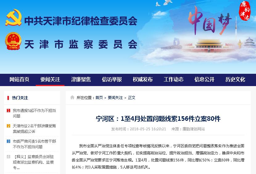 宁河区:1至4月处置问题线索156件立案80件