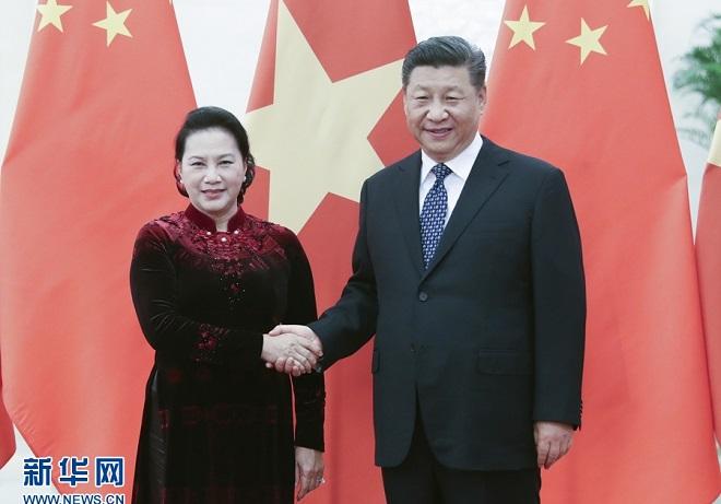 習近平會見越南國會主席阮氏金銀