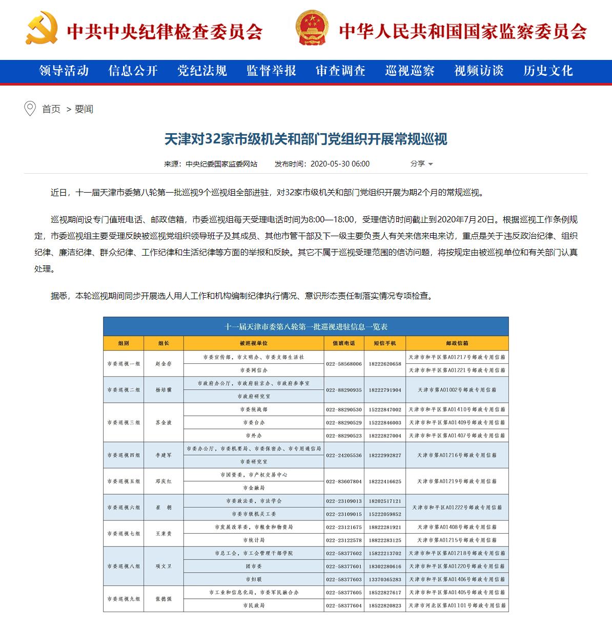 天津:32家市级机关和部门党组织开展常规巡视